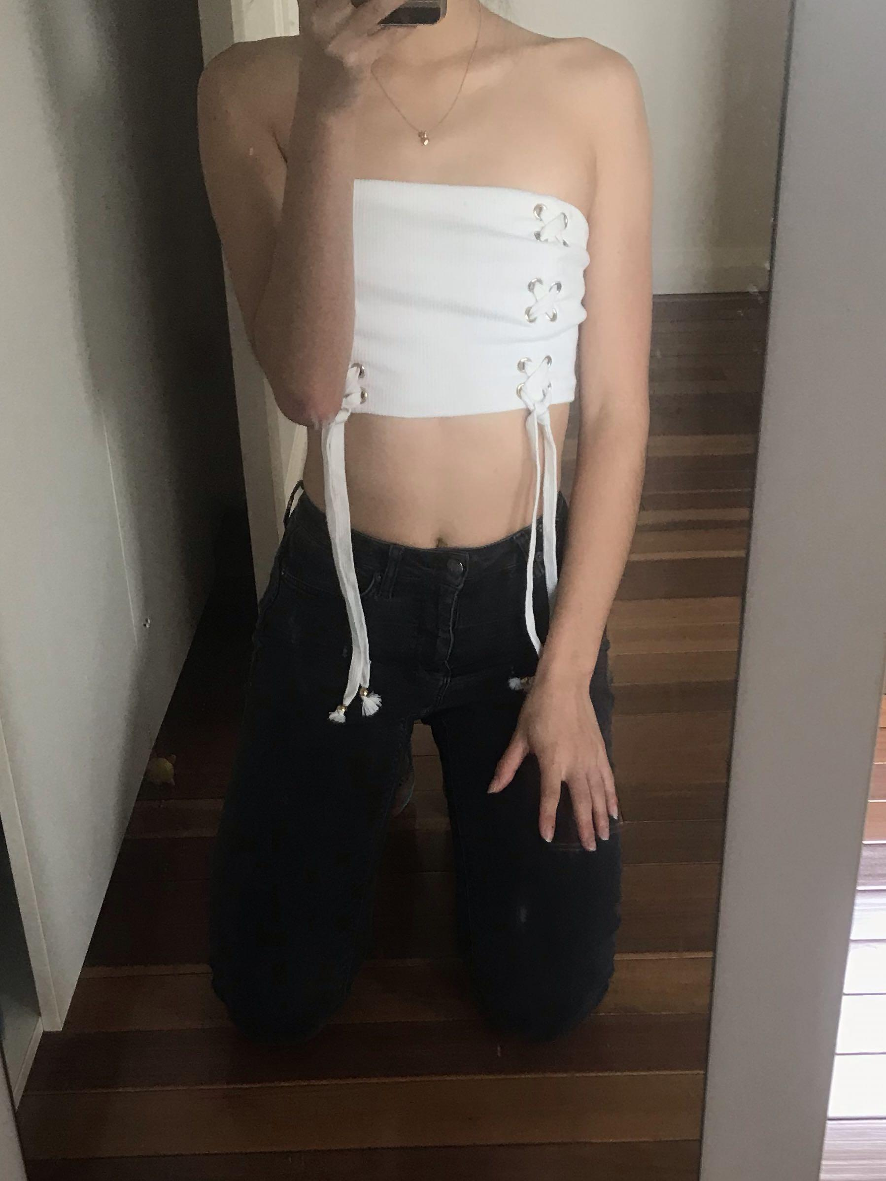 Saboskirt sabo skirt white strapless bandeau lace up top size S