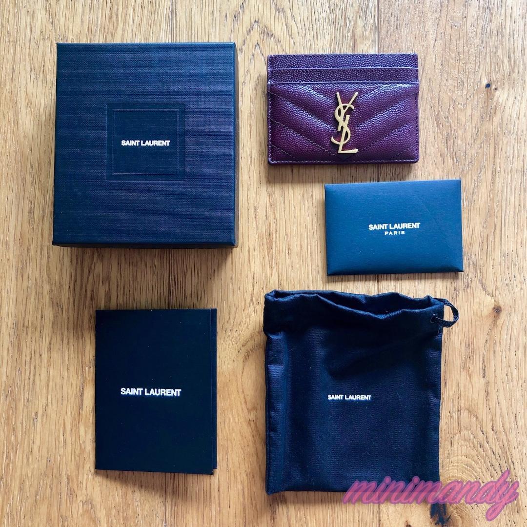 Saint Laurent MONOGRAM CARD CASE leather dark red YSL card holder genuine
