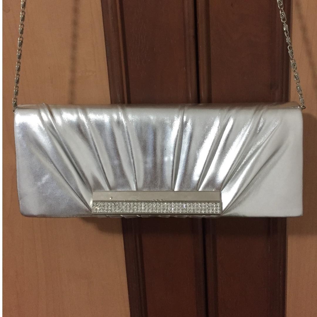 Silver Anna Nucci clutch with Swarovski crystals