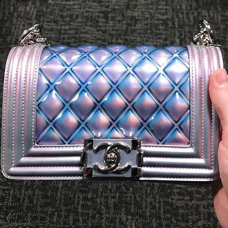 52dc3dc9550eed Sold) 18S Chanel Boy Mermaid Iridescent Small SHW, Luxury, Bags ...