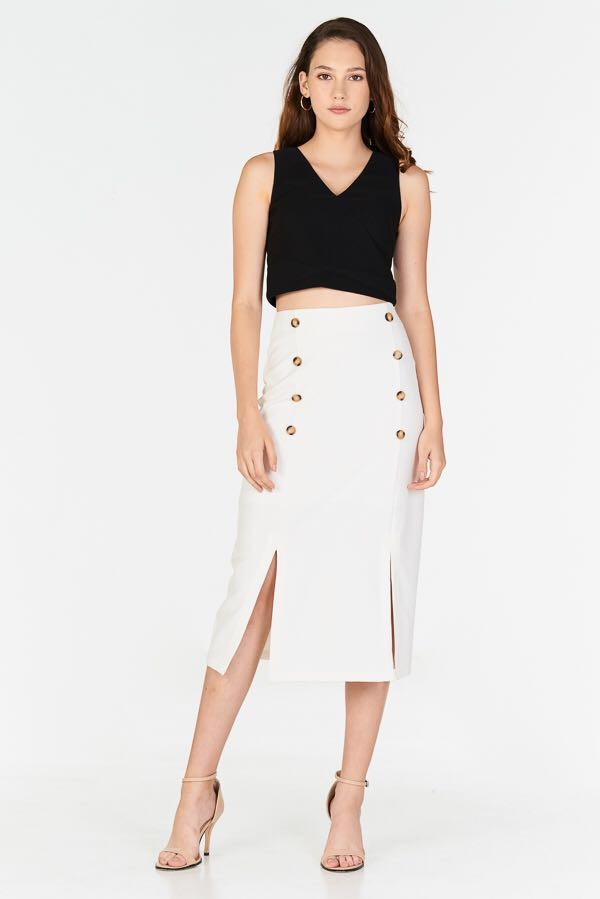 ea5f785826 TCL Alivia Buttoned Midi Skirt in White, Women's Fashion, Clothes ...