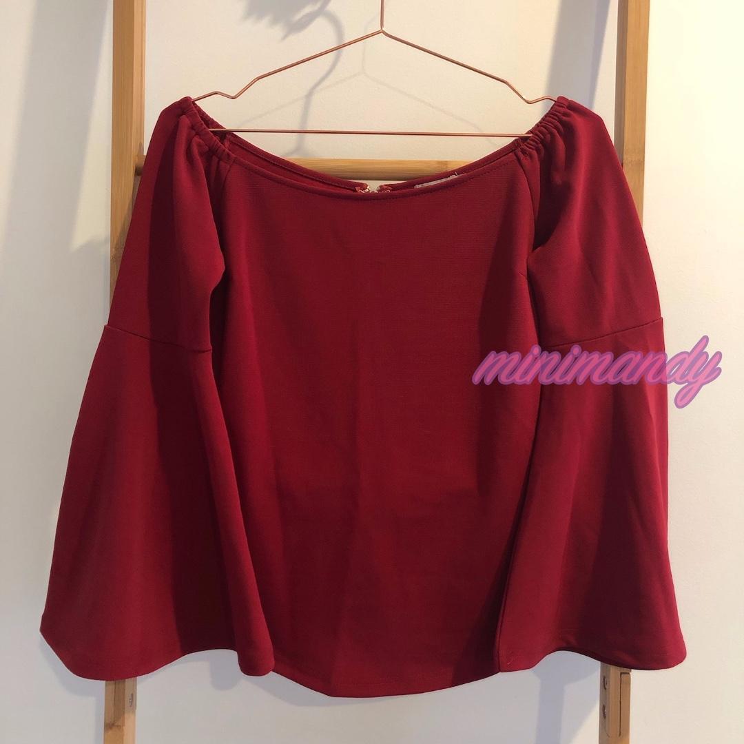 TEMT bell sleeves boat neck red top zip back blouse ValleyGirl #SundayMarket