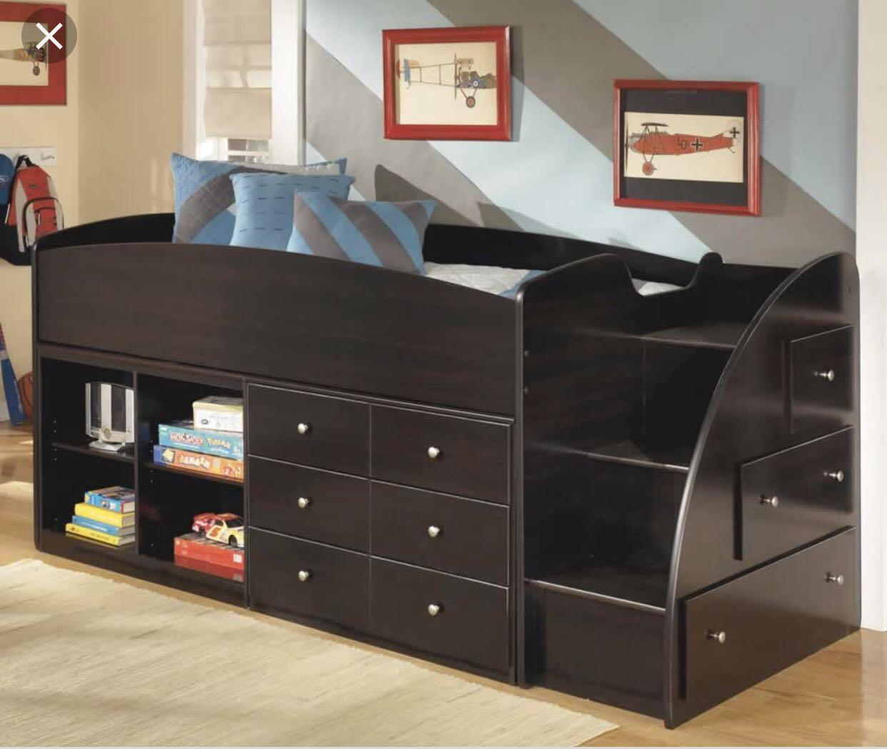 Twin loft bed with mattress and dresser set