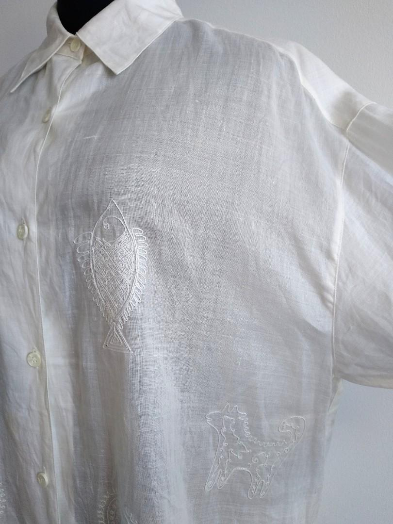 Vintage linen off white shirt with animal embroidery