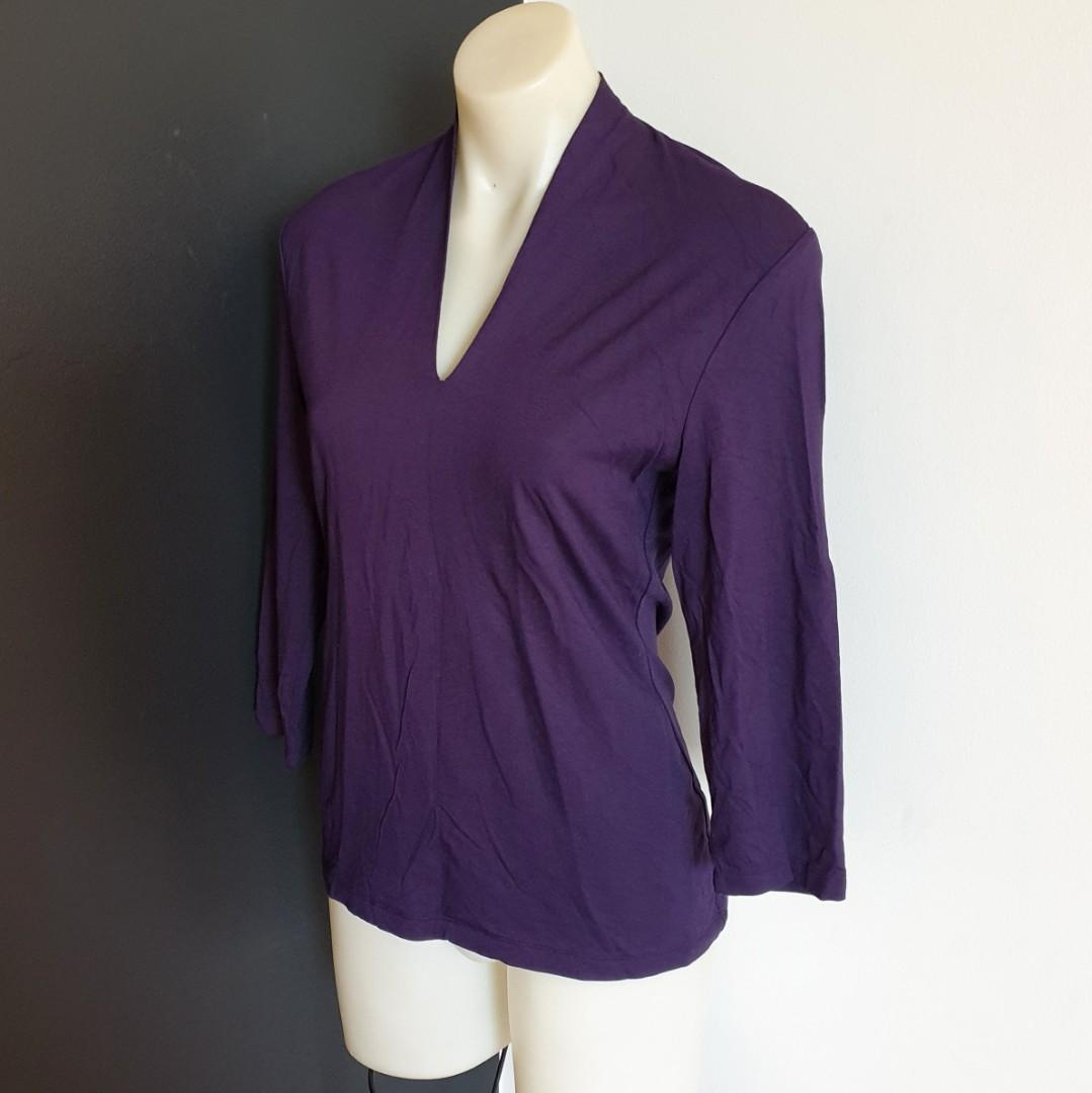 Women's size 14 'CHIOS' Gorgeous plum coloured long sleeved top - AS NEW