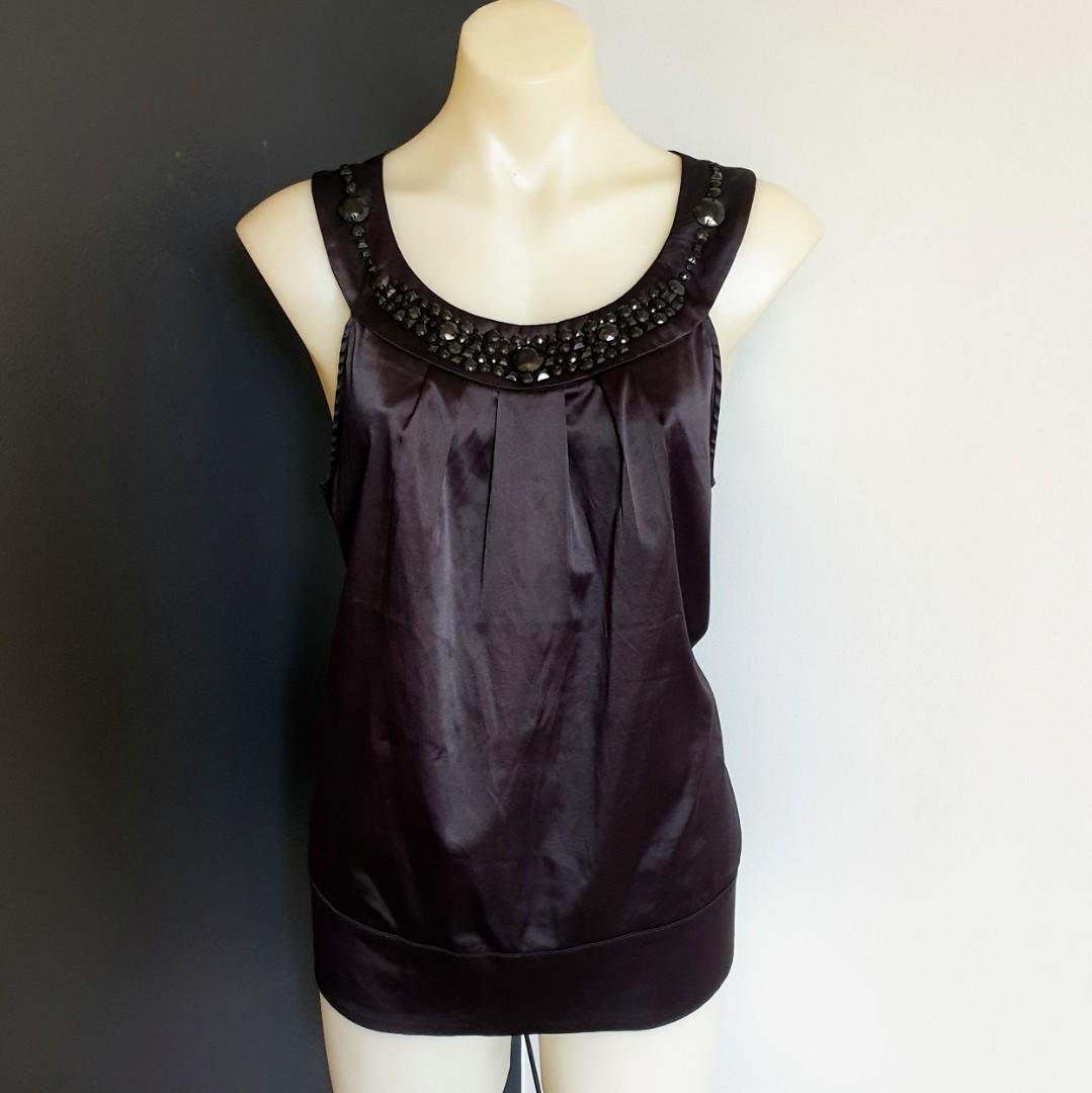 Women's size 16 'PORTMANS' Gorgeous black  embellished neckline top - AS NEW