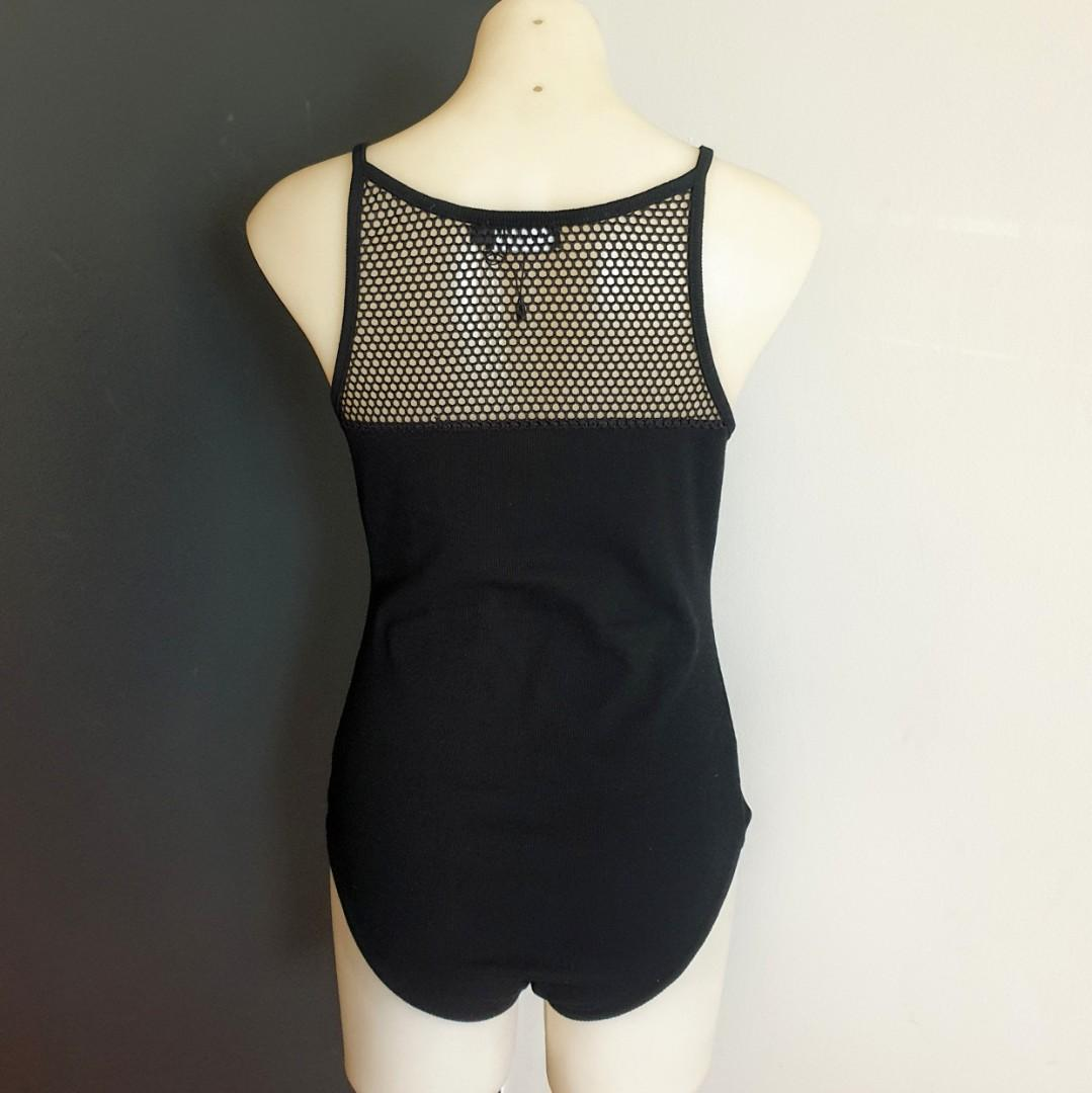 Women's size L 'VG EDITION' Gorgeous black number 9 bodysuit with mesh - BNWOT