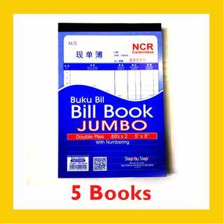 [5 BOOKS] Carbonless JUMBO Bill Book with Numbering 80 sets x 2ply – JNB85802 (5 Inch x 8 Inch)