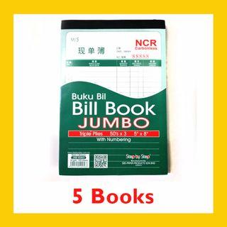 [5 BOOKS] Carbonless JUMBO Bill Book with Numbering 50 sets x 3ply – JNB85803 (5 Inch x 8 Inch)