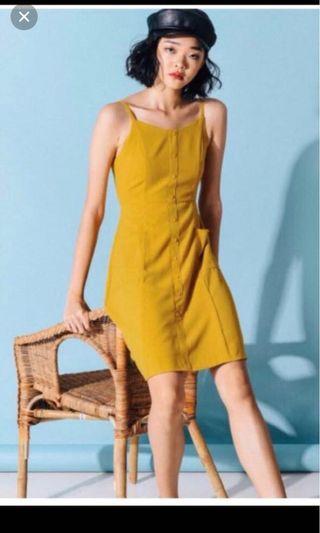 Fashmob Kilda Pocket Dress in Mustard