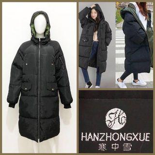 Black puffer long winter coat / jacket