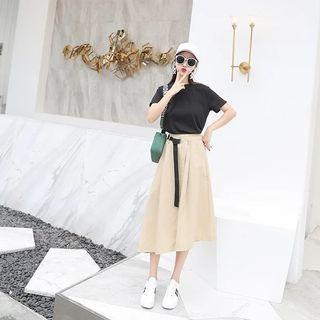 Midi Skirt + Black Tee