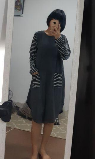 stripes accent mini dress