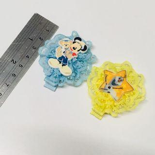 🚚 髮飾 髮夾 可愛 迪士尼 米奇 冰雪奇緣 蕾絲 日系 小孩 女孩 小女生 頭髮