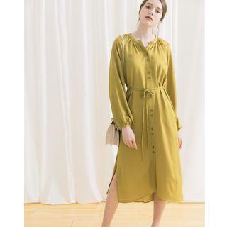 全新轉賣-MEIER Q-知性澎澎袖排釦綁帶兩側開岔長洋裝