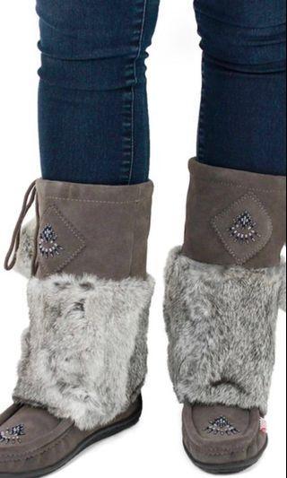Grey soft moc fur boots