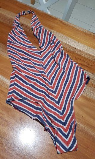 bikini one piece set baju renang chevron garis biru putih merah v neck backless sexy
