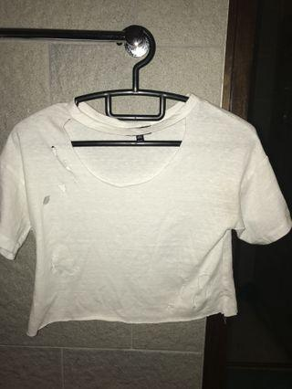 White Crop TOP with rips and v-neck