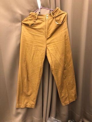 🚚 駝色 雙扣 後鬆緊 寬鬆 長褲