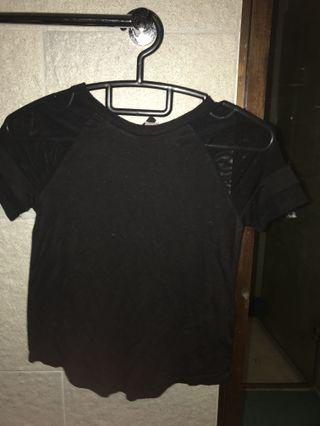 Black Tshirt with patterned sleeve