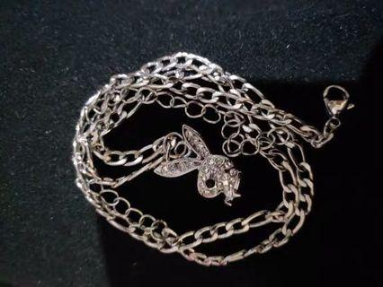 Stainless Steel Playboy bunny necklace
