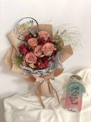 Coffee Roses bouquet / Birthday bouquet / roses bouquet / Flowers bouquet