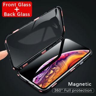 iPhone XS MAX 360 Coverage Front + Back Glass Magnetic Case