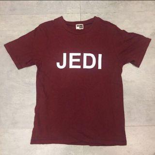 古著厚身酒紅色JEDI字母上衣Tee