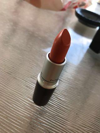 MAC burnt orange lipstick