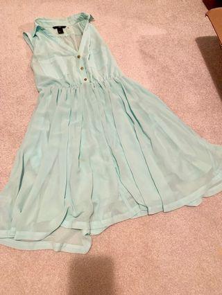 Mint collared v neck spring dress