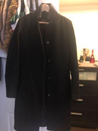 Black pea coat size small - Le Chateau