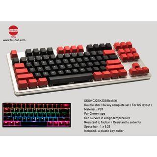🚚 Tai Hao PBT Backlit Gaming Keycap - Black and Red (104 / 87 / 61 Keys)