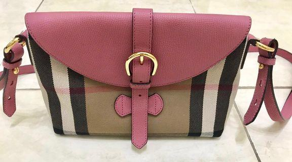 Guaranteed Authentic Burberry Small Leather And Vintage Check Crossbody Bag (Pink Leather)
