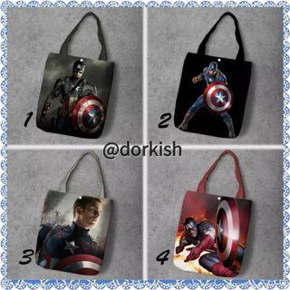 [PO] Marvel Captain Capt America Civil War Avengers Steve Rogers Chris Evans Shield Cute Canvas Tote Bag (1 of 2)