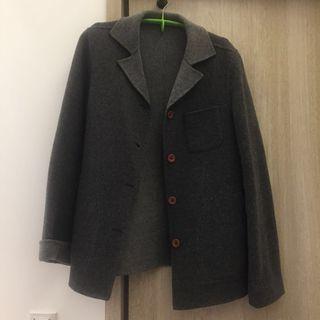可正反穿 深灰/淺灰色毛料西裝外套 M號附尺寸參考