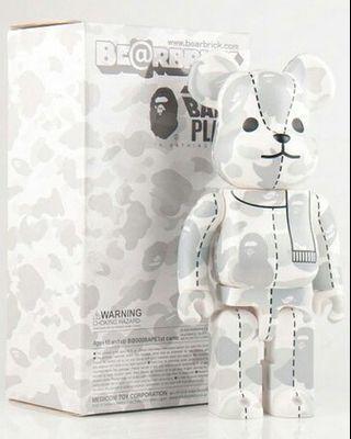 2008 中古極罕 白灰迷彩 400% bearbrick x A Bathing Ape BAPE PLAY White Camo 400% BE@RBRICK