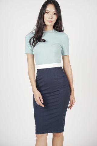 Mds blue ashley contrast dress