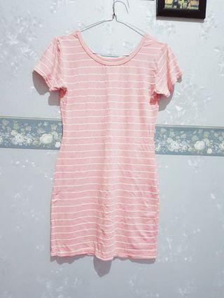 Mididress garis-garis pink (preloved)