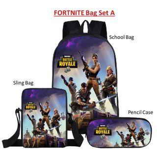 FORTNITE BATTLE ROYALE School Bag Backpack Set (with Sling bag and Pencil Case) Free doorstep delivery