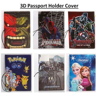 3D Cartoon Passport Holder Cover Frozen Elsa Anna Marvel Avenger Hulk Spiderman Pokemon Transformer