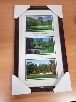 Framed golf poster