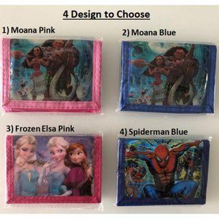Student Children Kid Wallet With Coin Compartment (Moana, Frozen Elsa, Spiderman)