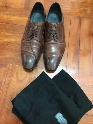 Hugo Boss Italian Leather Shoes brown UK size 8 意大利名牌男裝皮鞋啡色
