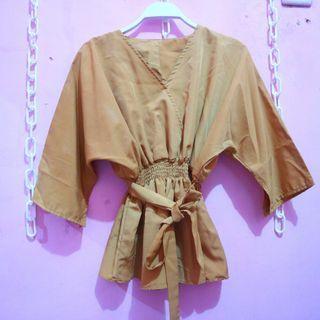 Mustard kimono blouse