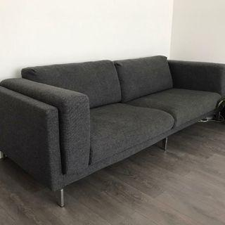 3-seats sofa dark grey excellent condition with chrome legs