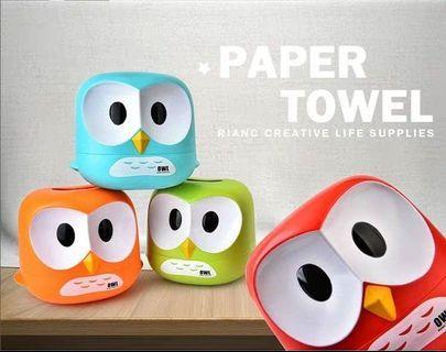 貓頭鷹面紙盒