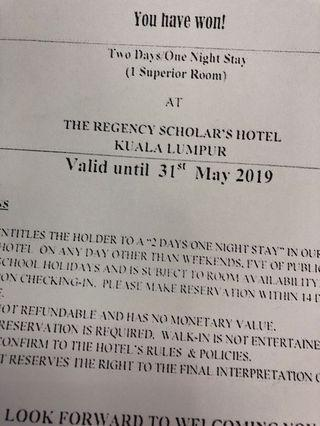 Voucher 2d1n @ The Regency Scholar's Hotel KL