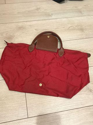 🚚 Longchamp 二手短把包包 手提包 紅色 M號
