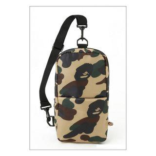 Instock! BAPE THE BATHING APE Camo Cushion Chest Pack Bag Backpack (Yellow Brown Green Camouflage Print) PO01160012 + FREE Post! *GWP Japanese Magazine*