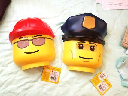 lego masks from USA. policeman & construction worker